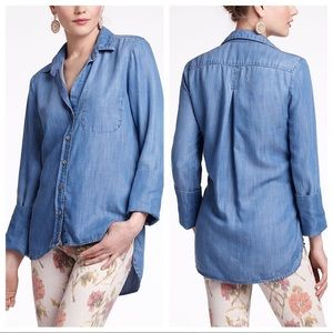 Anthropologie Elevenses chambray Button down Shirt
